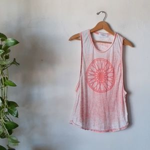 Soulcycle burnout muscle tank top wheel graphic S